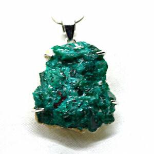 Dioptase Sterling Silver Pendant Large Natural Green Crystal~Heart Healing~Life