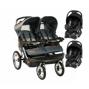 Baby Trend Double Jogging Stroller with Two Infant Car Seats Travel Combo Set
