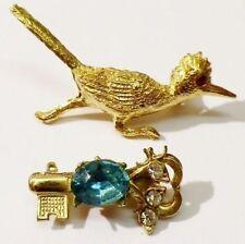 bijou vintage lot paire de petites broches couleur or diamant clef oiseau 3414