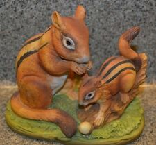 Lefton China Hand painted porcelain Chipmunk Mother Baby Acorn Autumn Fall