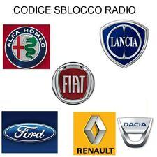 CODICE SBLOCCO AUTORADIO RADIO FIAT ALFA LANCIA FORD RENAULT DACIA