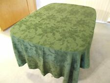 "Christmas Table Cloth, Emerald Green Poinsettia with Berries, 57"" x 98.5"""