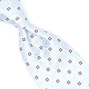 Robert Talbott Best of Class Mens Silk Necktie Light Blue White Navy Blue Tie