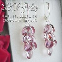 925 SILVER EARRINGS XILION RIVOLI - ANTIQUE PINK CRYSTALS FROM SWAROVSKI®