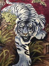 Vtg San Marcos ? Grey Tigers Soft Blanket Burgundy 58� X 86�