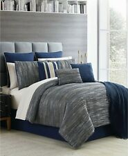 Hallmart Collectibles 13 Piece KING Comforter Set Germaine Jacquard  Navy $460