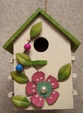 Bird House Beige Floral NEW wood with sparkles on roof