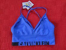 Calvin Klein Blue Black Sports Bra Bralette Small S NWT