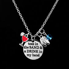 Toes In The Sand Drink In My Hand Silver Disc Pendant Wine Beach Theme Necklace