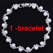 Bride Wedding Jewelry Sets Simple Crystal Necklace Earrings Bracelets SetsHuG