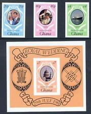 Ghana 1981 Royal Wedding set 3 & miniature sheet imperf mint  (2017/58/23#01)