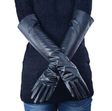 Pair of Women Fake Leather Elbow Gloves Winter Solid Long Warm Finger Gloves