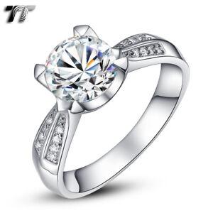 Luxury TT RHODIUM 925 Sterling Silver 2 Carat Engagement Wedding Ring (RW22)