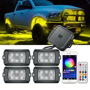 MICTUNING Q1 RGB LED Rock Lights 4 Pod Underglow Car Truck Off Road Neon Lamp