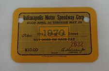1970 Indianapolis Motor Speedway Indy 500 Season Gate Pass Ticket Credential