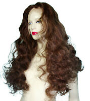 Front Lace Wig Wigs Remi Remy Indian Human Hair Long Dark Brown Mix Silky Soft