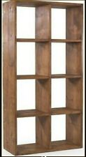 Real Solid Wooden Double Quad Cube Shelving Unit Rustic Plank Indigo Furniture
