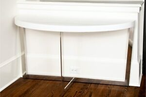 Chic Chrome And Acrylic Demilune Console Table