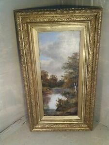 Antique Oil Painting , Woodland River