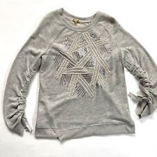 Democracy Womens Sweater Gray Size Medium Sequence Line Design Drawstring Sleeve