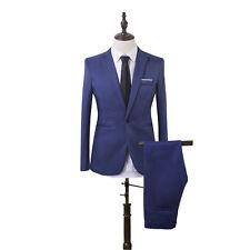 Men Formal Business Suit Blazer Groomsman Prom Tuxedo One Button Slim Coat+Pants