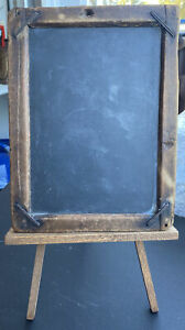 Vintage Wood & Slate Black Chalk Board 8 1/2 Tall And 6 1/2 Wide With Stand