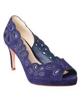 NEW PHASE EIGHT ABIGAIL SCALLOPED SUEDE  SHOES – UK SIZE 6 – VIOLET