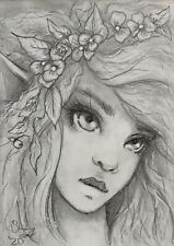 New ListingAceo Original Fantasy Sketch Drawing FoGg Atc Card 2.5x3.5� Faerie