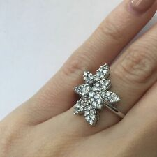 0.85 Ct Round Brilliant Cut Diamond Flower Right Hand Ring in 14k Gold F-G Si1