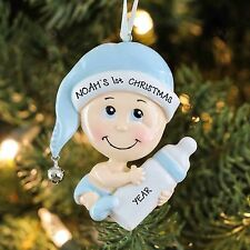 BABY BOY WITH BOTTLE BLUE PERSONALIZED BABY`S FIRST CHRISTMAS TREE ORNAMENT