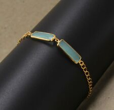 Solid 925 Sterling Silver Aqua Chalcedony Gold Plated Bracelet Dailywear
