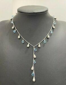 Italian 14ct solid gold & Blue Topaz drop Necklace 11.92g/ 40cm