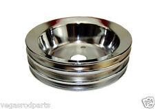 Chrome steel Crank Pulley S/B Chevy short triple groove 3 chevrolet  327 350 400
