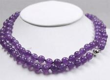 """Long 36""""10mm Russican Amethyst Round beads Necklace"""