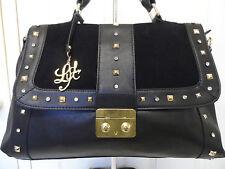 LYDC Ladies/Womens Designer Faux Leather Black Diamante Crossbody Shoulder H/bag