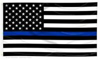Quality Thin Blue Line American Police Flag 12x18 FADE Resistant Stars & Stripes