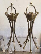 Pair of Art Deco Brass Cigar Ashtrays Floor Model