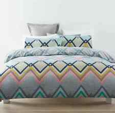 Modern Miles Geometric Design 2pc Doona / Quilt Cover Set  Blue Grey- Single Bed