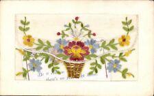 World War 1 Silk. Basket of Flowers.