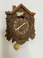 LUX CLOCK MFG CO SYROCO WOOD WALL CLOCK Acorn Weights Birds Flowers VINTAGE