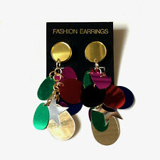 Vintage 1990s multicoloured sequinned dangle stud earrings