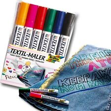 Textilmaler, 6 Stifte, zum Bemalen von T-Shirts, Hosen, Taschen uvm,