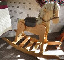 LARGE WOODEN ROCKING HORSE Handmade Toddler NURSERY Toy Furniture LIGHT OAK