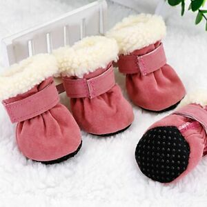 4pcs Warm Small Dog Boots Paw Protector Waterproof Fleece Anti-Slip Dog Shoes