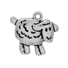 10 Antique Silver SHEEP LAMB Charm Pendants chs1355a