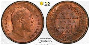 1907-C India 1/4 Anna PCGS MS64 RB