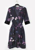 SOFIE SCHNOOR (UK 8) XS Navy Purple Floral Wrap Kimono Dress Midi Knee Length