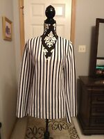 Women's Ann Taylor Beautiful Blue and White Striped Sweater w/Exact Measurements