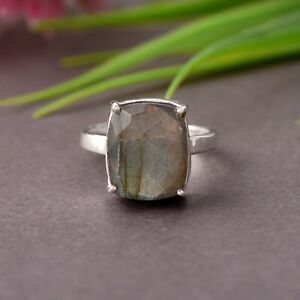 Labradorite Silver Engagement Ring 925 Sterling Sterling Silver Jewelry Gift