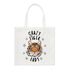 Crazy Tiger Lady Stars Small Tote Bag - Funny Animal Shopper Shoulder